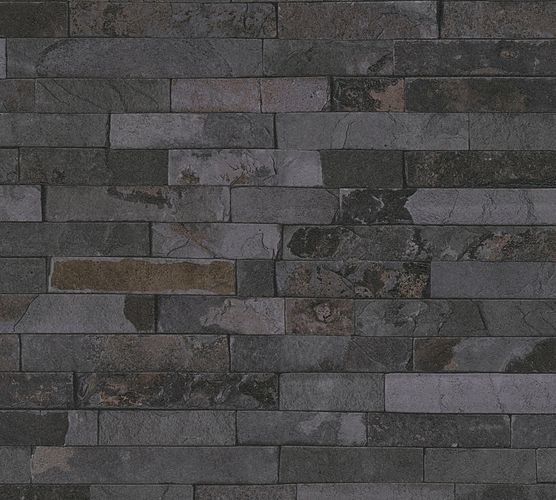Wallpaper stone wall design used anthracite AS Creation 35582-5 buy online