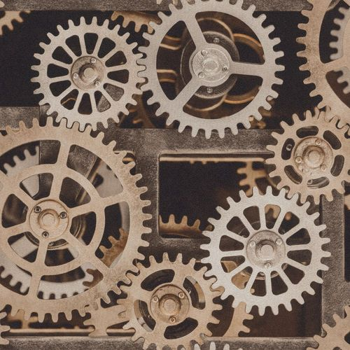 Tapete Vlies Zahnrad Mechanik bronze Rasch Glanz 940114