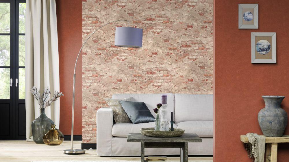 tapete vlies stein optik naturstein taupe rotbraun rasch. Black Bedroom Furniture Sets. Home Design Ideas