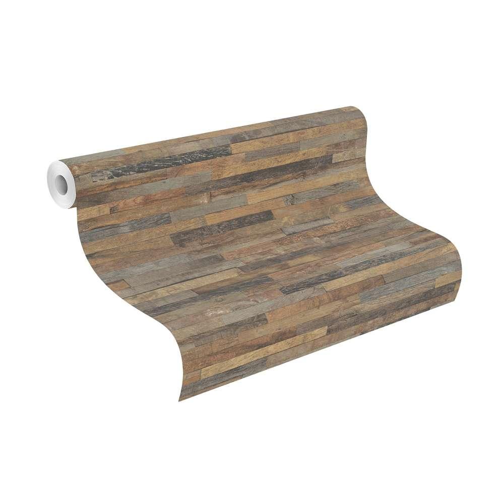 tapete vlies holz optik 3d braun grau rasch 939811. Black Bedroom Furniture Sets. Home Design Ideas