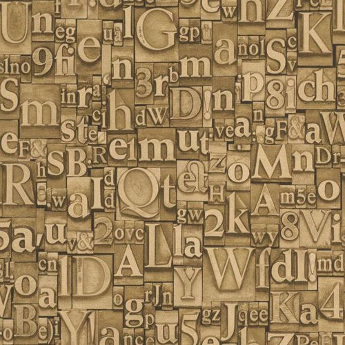 Wallpaper vintage letter beige brown Rasch 940008  buy online
