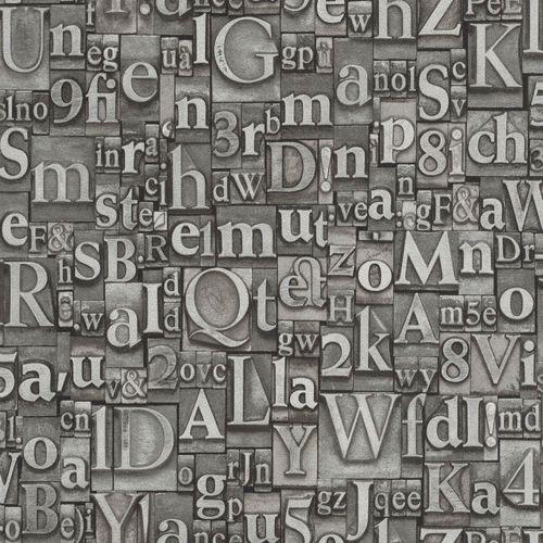 Tapete Vlies Vintage Buchstaben anthrazit Glanz Rasch 940015