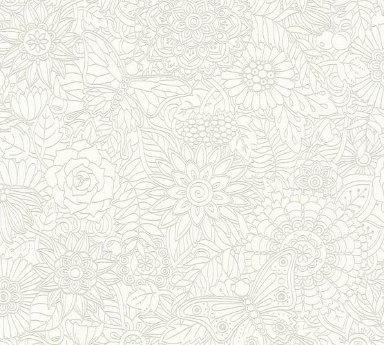 vlies tapete tropen floral pop art creme metallic 35816 1. Black Bedroom Furniture Sets. Home Design Ideas