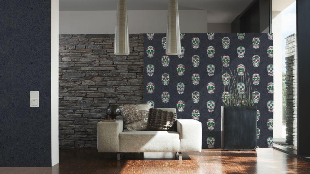 vlies tapete tropen floral pop art schwarz metallic 35816 2. Black Bedroom Furniture Sets. Home Design Ideas