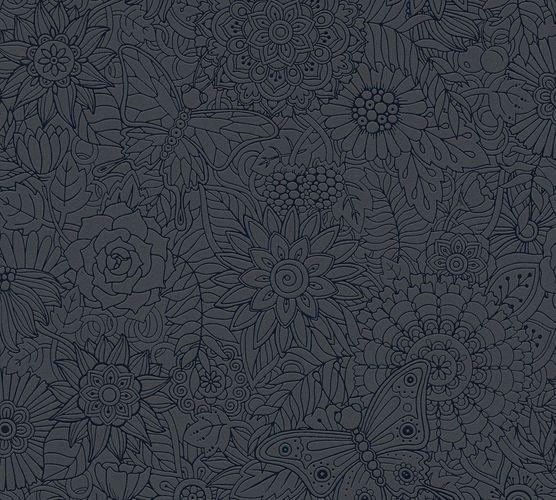 Kindertapete Mandala Schmetterlinge schwarz Glanz 35816-2 online kaufen