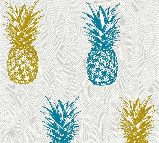 Vlies Tapete Ananas Tropen gold blau Glitzer 35997-2 online kaufen