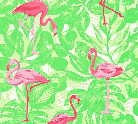 Kids Wallpaper Flamingos Leaves green pink Gloss 35980-2 online kaufen