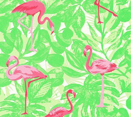 Vlies Tapete Flamingo Tropen neongrün pink Metallic 35980-2 online kaufen