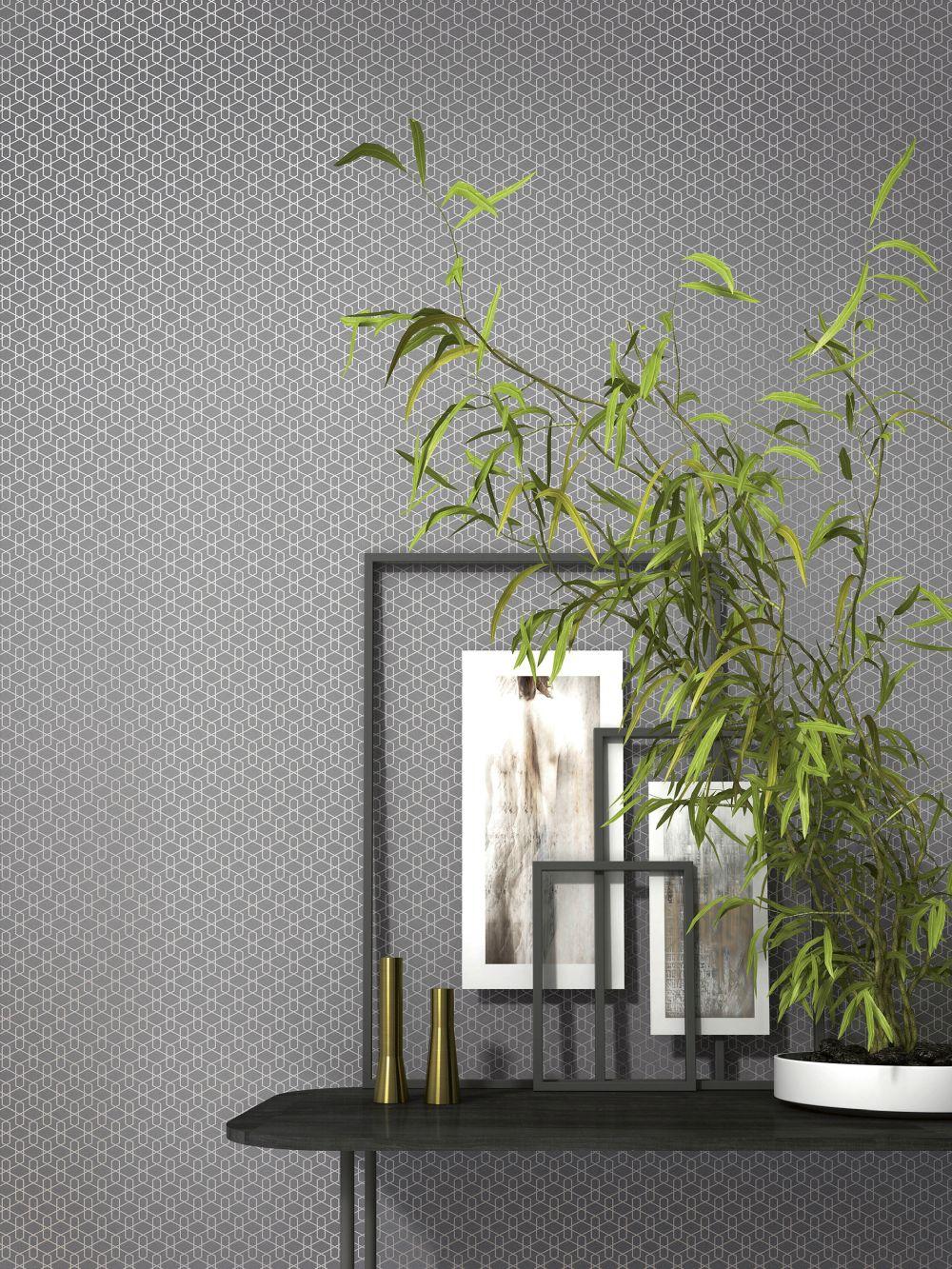Vlies tapete grafisch 3d grau glitzer rasch cato 800906 for 3d tapete grau