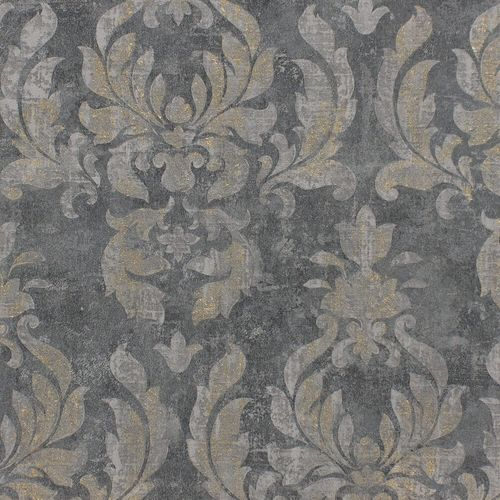 Vlies Tapete Barock blaugrau gold Metallic Rasch 467413