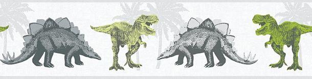 Tapeten Borte Kinder Dinosaurier Tiere grau grün 35836-1 online kaufen
