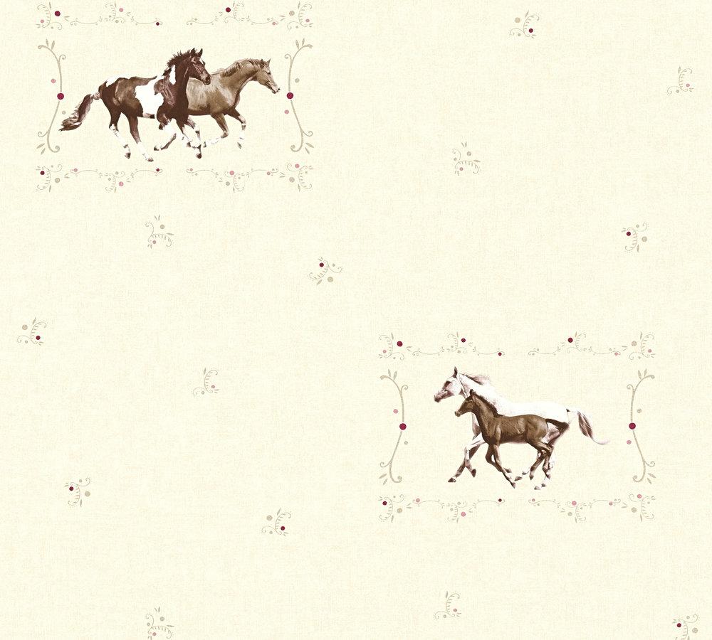 tapete kinder pferde ponys creme braun metallic 35837-2