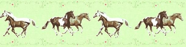 Tapeten Borte Kinder Pferde Ponys grün braun 35838-1 online kaufen