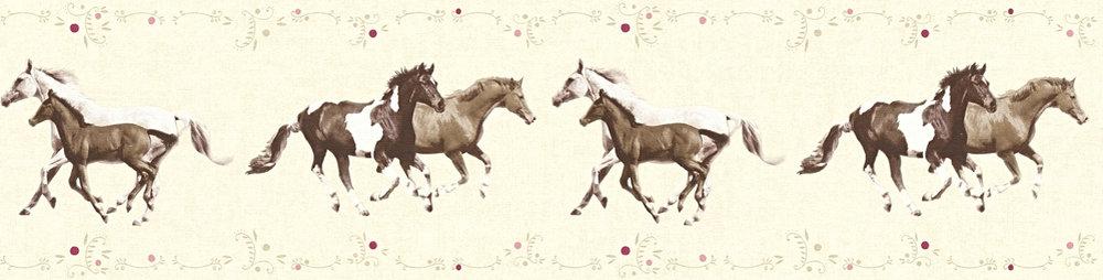 Tapeten borte kinder pferde ponys creme braun 35838 2 for Tapeten borte