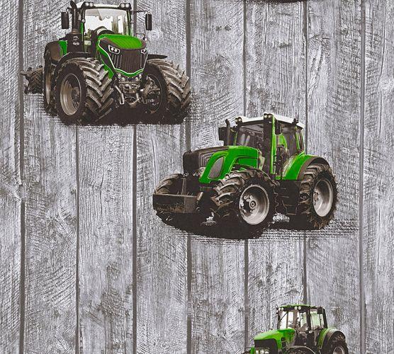 Wallpaper Kids tractor wood style grey green 35840-2 online kaufen