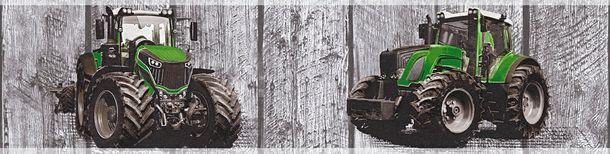 Tapeten Borte Kinder Trecker Holz-Optik grau grün 35843-1