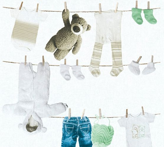 Wallpaper Kids teddy clothes white beige 35844-2 online kaufen