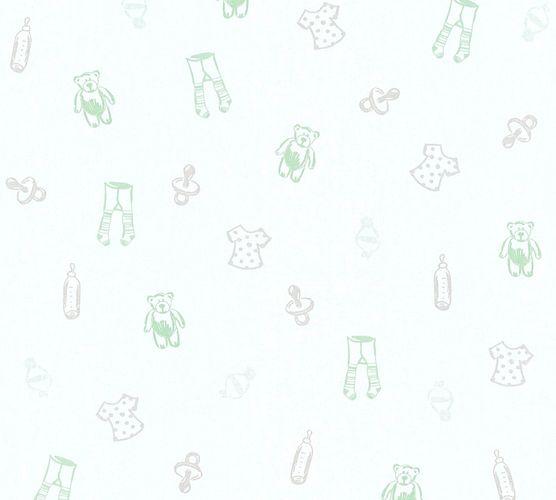Tapete Kinder Teddy Schnuller weiß mint Metallic 35845-1 online kaufen