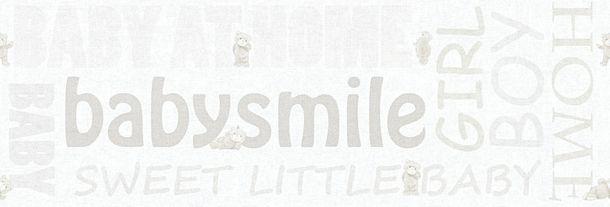 Tapeten Borte Kinder Teddy Schrift weiß beige 35848-2