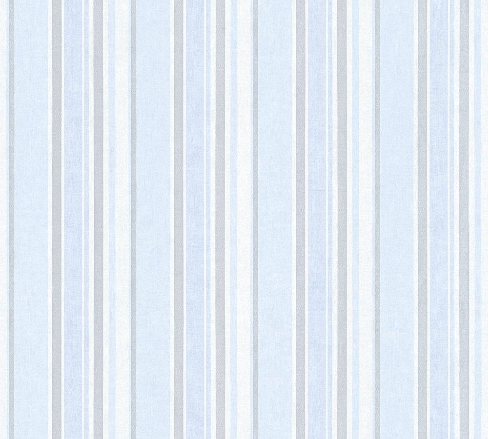 tapete kinder streifen muster hellblau silber metallic 35849 3. Black Bedroom Furniture Sets. Home Design Ideas