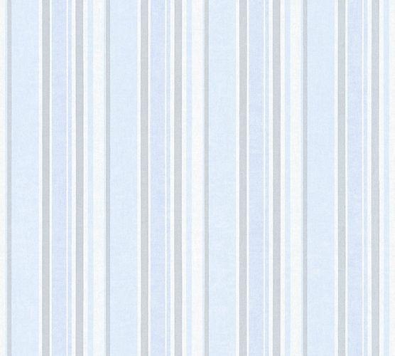 Wallpaper Kids stripes striped blue silver metallic 35849-3 online kaufen