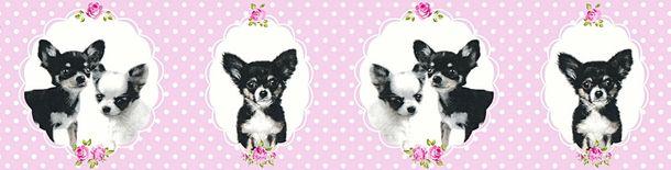 Tapeten Borte Kinder Hund Chihuahua rosa schwarz 35850-2 online kaufen