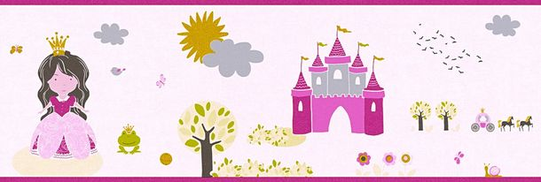 Wallpaper Border Kids princess rose pink metallic 35853-1 online kaufen