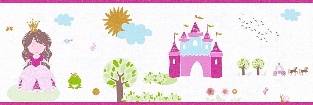 Tapeten Borte Kinder Prinzessin Schloss weiß pink Metallic 35853-2
