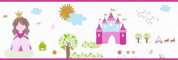 Tapeten Borte Kinder Prinzessin Schloss weiß pink Metallic 35853-2 online kaufen