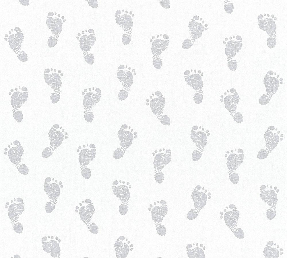 tapete kinder baby fu abdruck wei silber metallic 35863 1. Black Bedroom Furniture Sets. Home Design Ideas