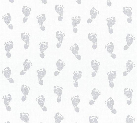 Tapete Kinder Baby Fußabdruck weiß silber Metallic 35863-1 online kaufen