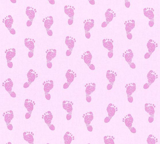 Tapete Kinder Baby Fußabdruck rosa Metallic 35863-3