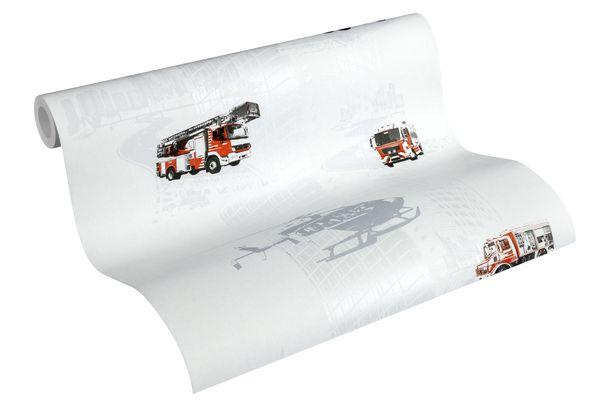 Wallpaper Kids Firetruck helicopter white red metallic 35813-1