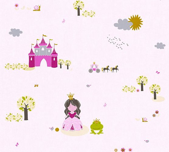 Wallpaper Kids princess castle rose pink metallic 35852-1 online kaufen