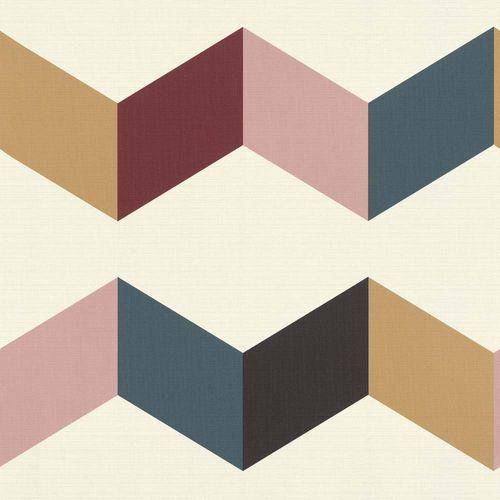 Non-woven Wallpaper 3D zig zag chevron colourful Rasch 937114 online kaufen