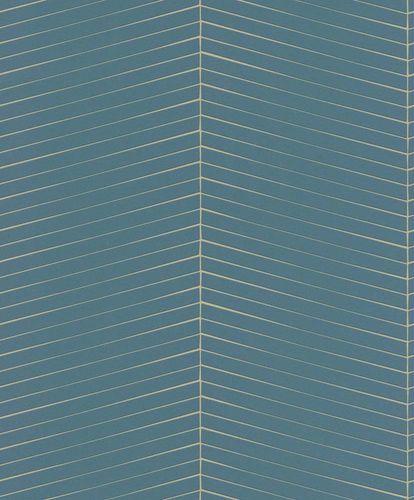 Non-woven Wallpaper graphic green gold gloss Rasch 941418