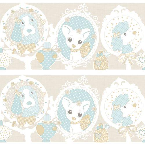 Bordüre Kinder Hunde Welpen beige Metallic Rasch Textil 303283 online kaufen