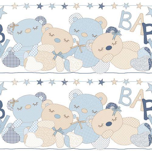 Bordüre Kinder Teddybär Sterne hellblau Metallic 303293 online kaufen