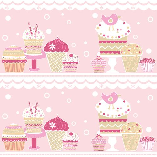 Wallpaper border cupcake muffins pink gloss 313284 buy online