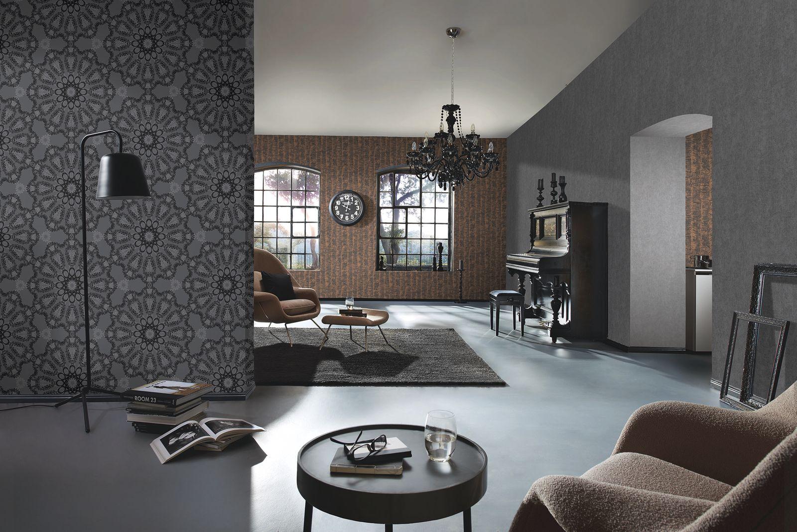 Wallpaper Kretschmer Deluxe Texture Plain Taupe Grey 41000 00