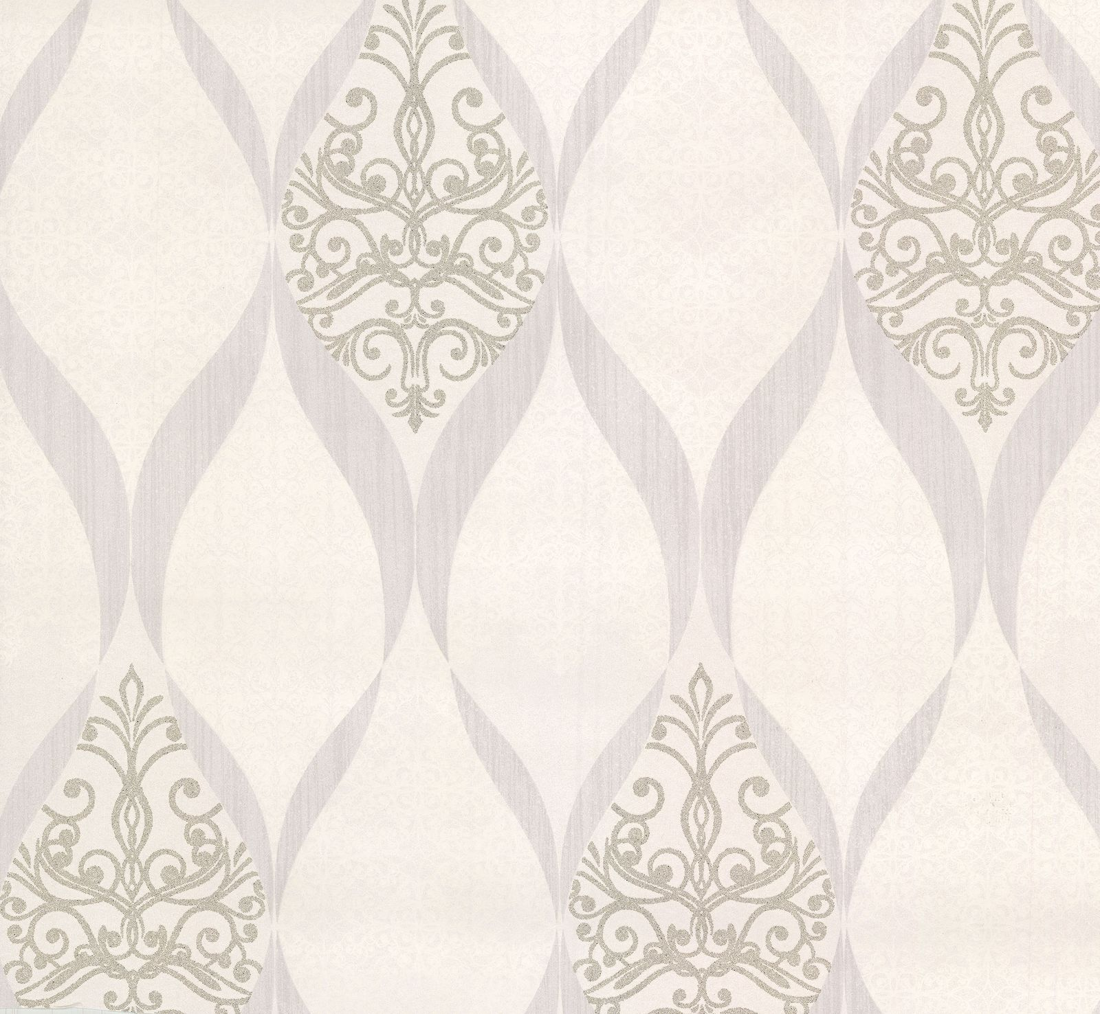 Wallpaper Kretschmer Deluxe Orient Glass Beads White Silver 41006 10