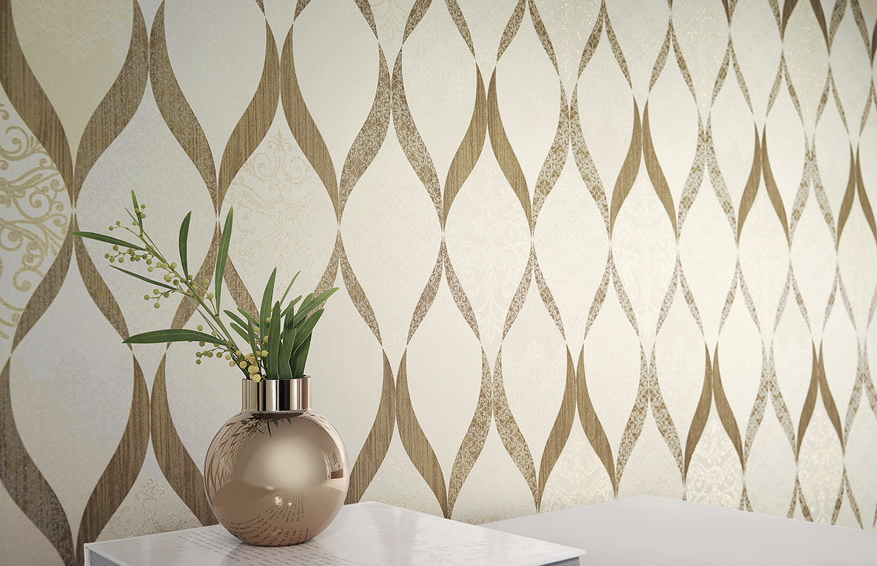 tapete kretschmer deluxe ornament glasperlen wei gold. Black Bedroom Furniture Sets. Home Design Ideas