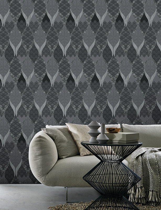 Wallpaper Kretschmer Deluxe Orient Glass Beads Grey Black 41006 40