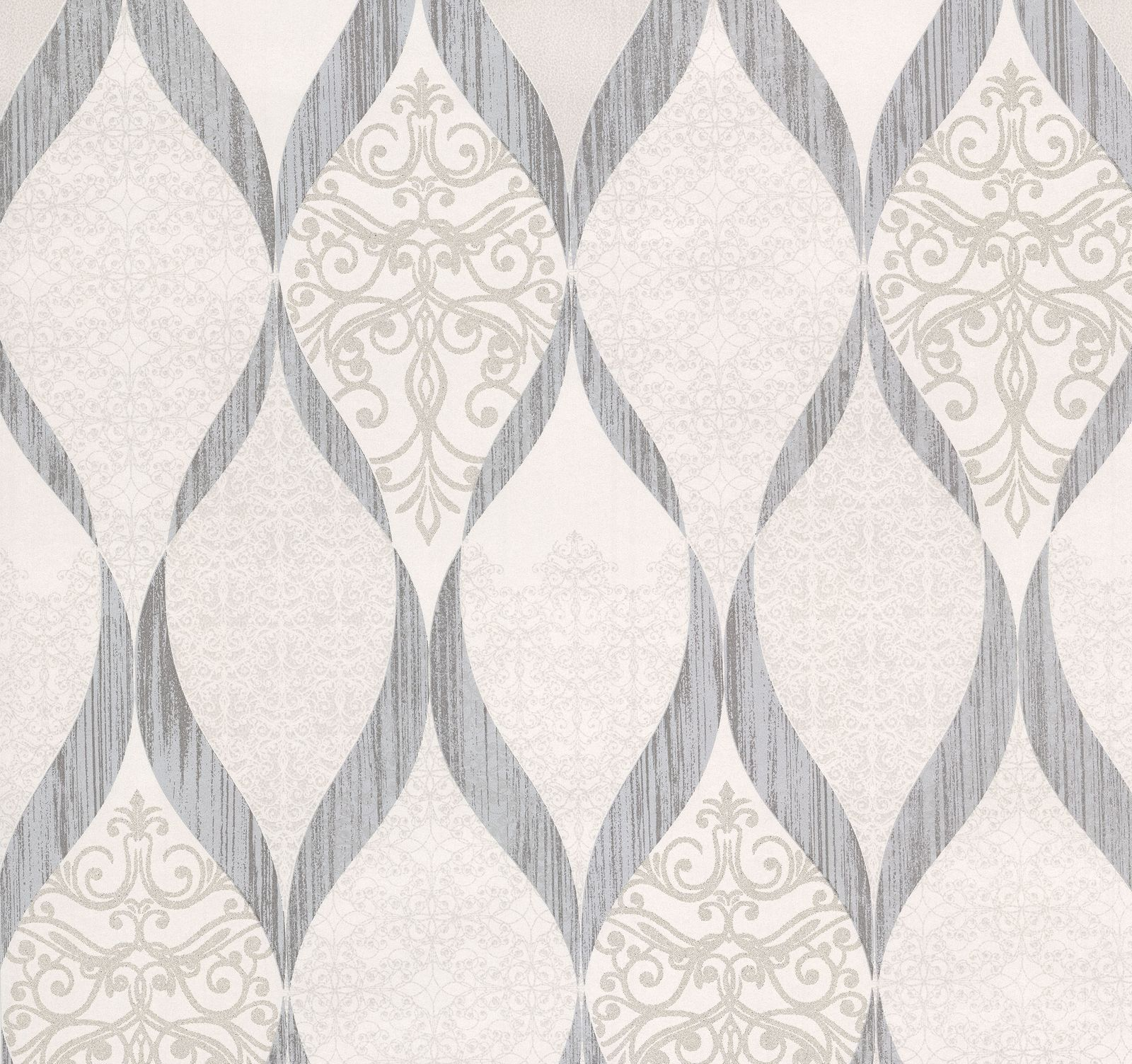 Wallpaper Kretschmer Deluxe Orient Glass Beads White Grey 41006 50