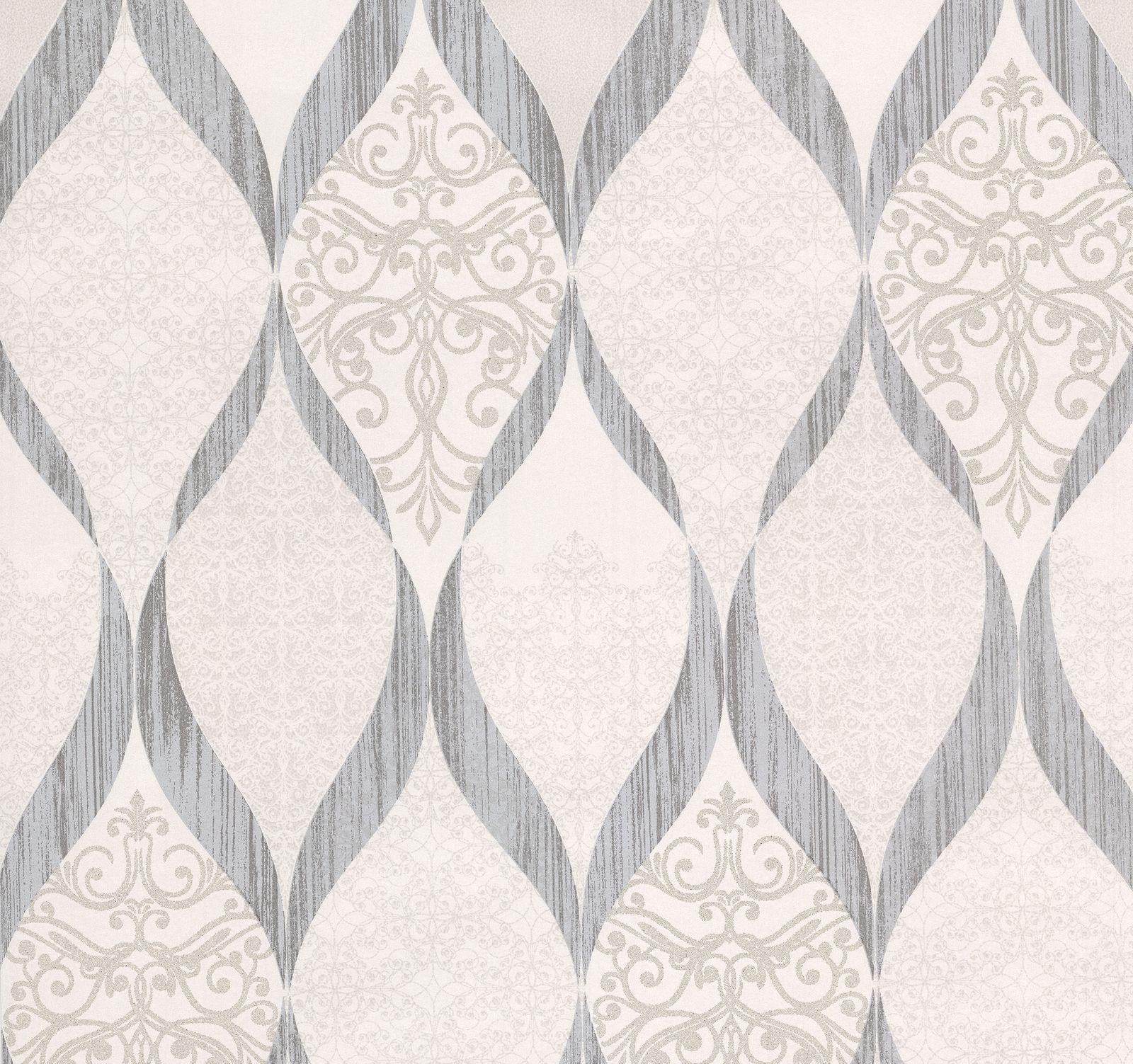 Wallpaper Kretschmer Deluxe Orient Glass Beads White Grey 41006 50