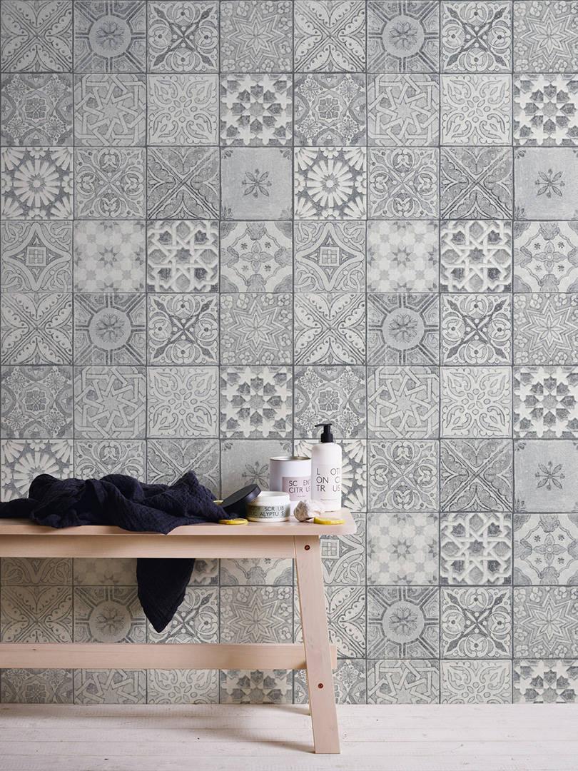 Neue Bude 2.0 Tapete Mosaik Fliesen Ethno Grau Weiß 36205 3