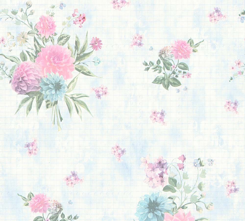 Wallpaper Floral Light Blue Green As Creation 35873 2