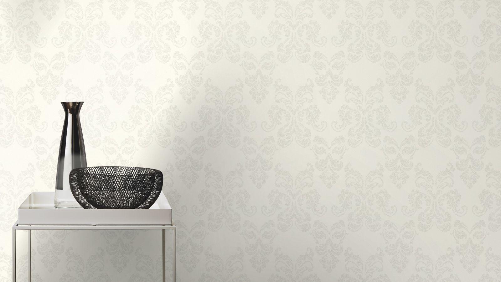 rasch vlies tapete ornament silber glitzer 503821. Black Bedroom Furniture Sets. Home Design Ideas