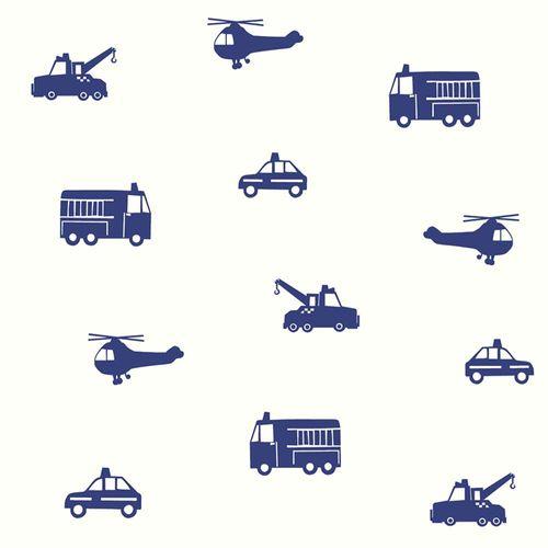 Vliestapete Kinder Autos Hubschrauber blau weiß 137321