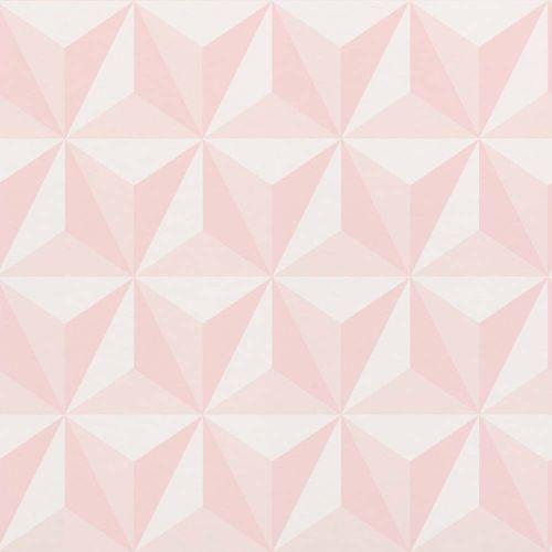 Vliestapete Kinder 3D Dreiecke rosa weiß 138911